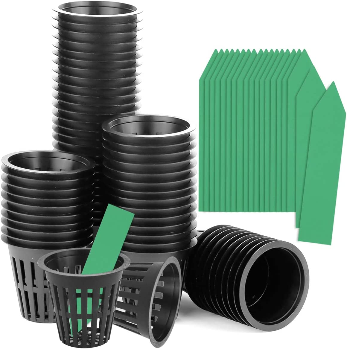 Weoxpr 60 Pack 2 Inch Garden Slotted Mesh Net Pot Cups with 60 Pcs Plant Labels, Heavy Duty Net Pots, Plastic Nursery Pots Bucket Basket for Hydroponics and Aquaponics