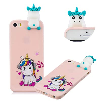 Cute Painted Cartoon Case for iPhone SE,Soft Silicone Case for iPhone 5/5S,Moiky Funny 3D Music Unicorn Cartoon Animals Pattern Design Ultra Thin TPU Rubber Shockproof Protective Case: Musical Instruments