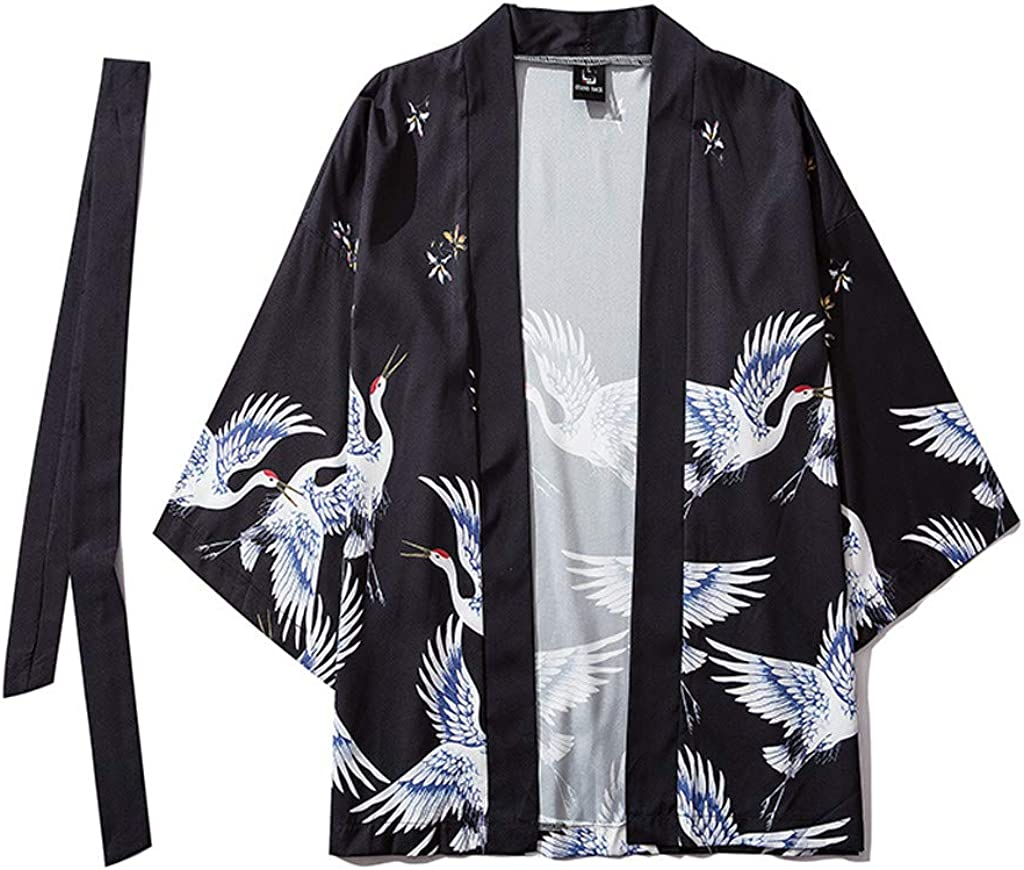 BURFLY Japanese Yukata Cardigans Kimono Costume Size M-XXL Oversized Robe Pajamas Dressing Gown for Mens//Womens