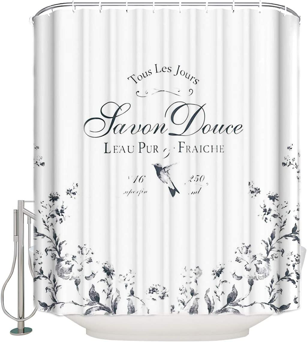 Cloud Dream Home French Vintage Old Fashion Shower Curtain,Waterproof Polyester Fabric Bath Curtain Design,Extra Long 72x84-Inch,White and Black