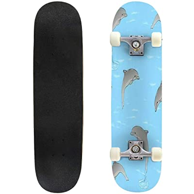 Classic Concave Skateboard Seamless Rest on The sea Three Dolphins Play in The Water Raster Longboard Maple Deck Extreme Sports and Outdoors Double Kick Trick for Beginners and Professionals : Sports & Outdoors