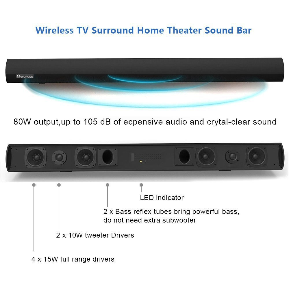 Wohome S9920 Soundbar Tv Sound Bar Wireless Bluetooth Home Theater Wiring Guide For 7 2 And Wired Speaker System 40 6 Drivers 80w 3d Surround Sound105db Audio