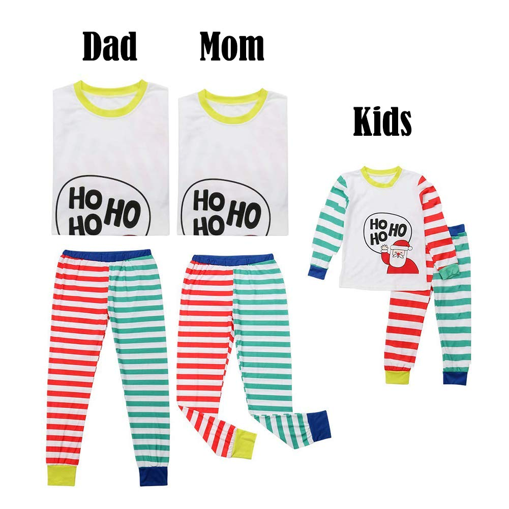 2PCS Xmas Family Matching Christmas Pajamas Striped Santa PJs Sets Mom Dad Kids Sleepwear Nightwear