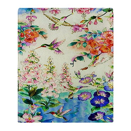 CafePress Hummingbird_Stained_Glass_23 35 Larg Soft Fleece Throw Blanket, 50