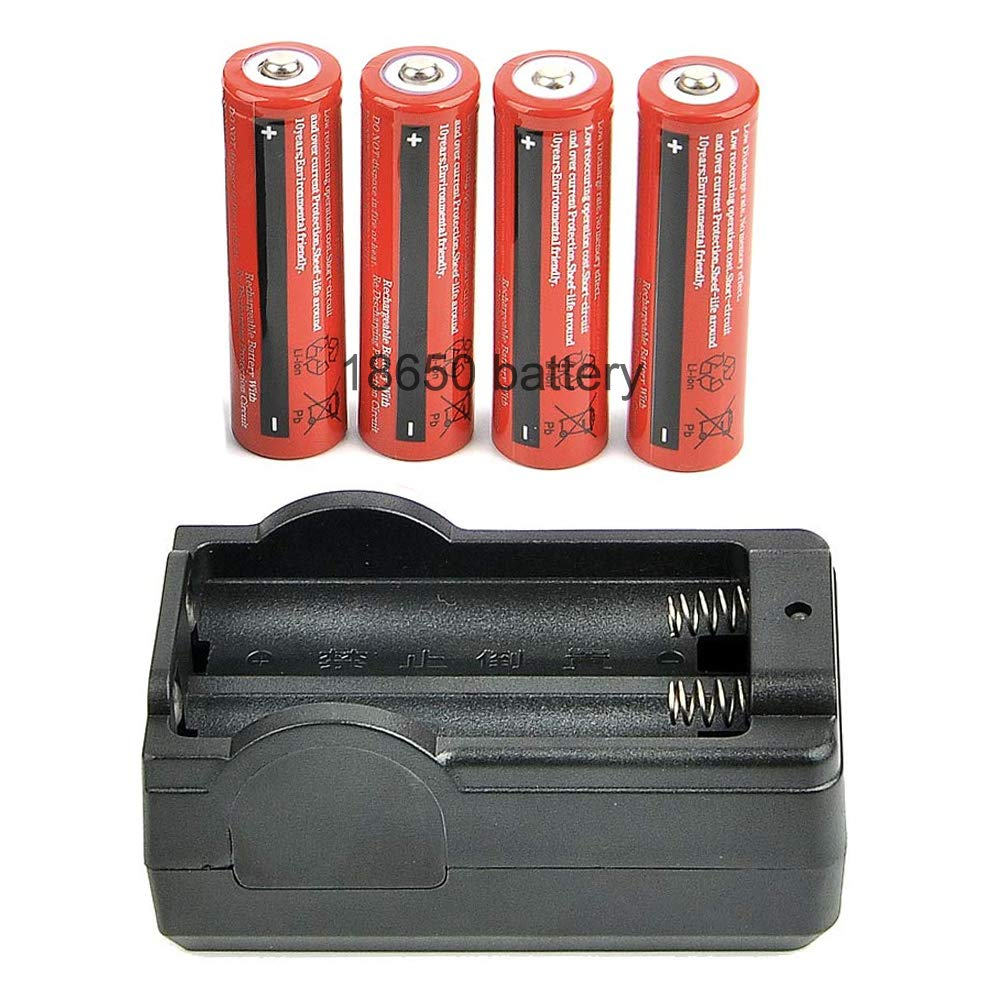 RHYTHMARTS Night Vision Hunting Accessories 1 Piece 18650 Battery Charger and 4 Piece 18650 Batteries Chargeable and Recyclable by RHYTHMARTS