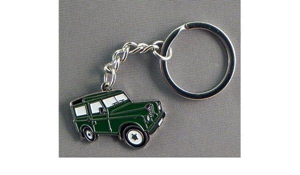 Metal llavero con diseño de esmalte verde Landrover (4 x 4 Land Rover) por sobre todo metal