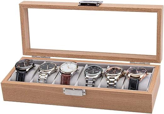 Caja de Relojes Estuche para Relojes, Bandeja de Estilo de época Moderna 6 Ranura Caja de