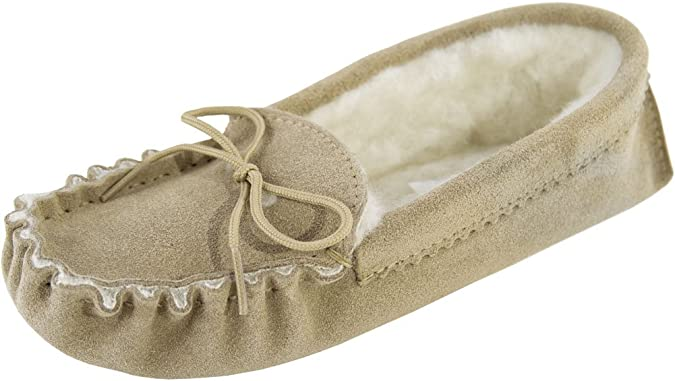Lambland Womens / Ladies Genuine Suede Sheepskin Moccasins with Soft Sole / Made in Great Britain /