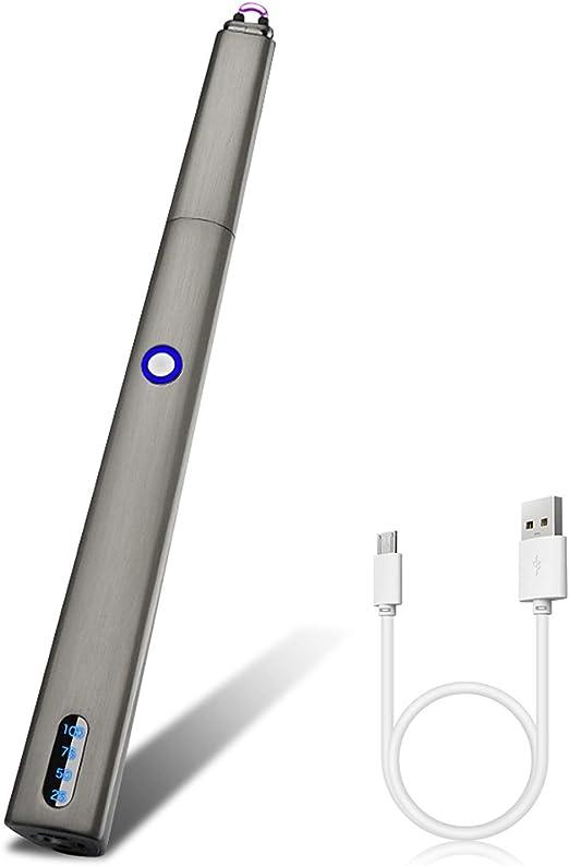 ASANMU Encendedor de Varilla con Linterna LED, Encendedor de Velas, mechero eléctrico, sin Llama, Resistente al Viento, Recargable por USB, para ...