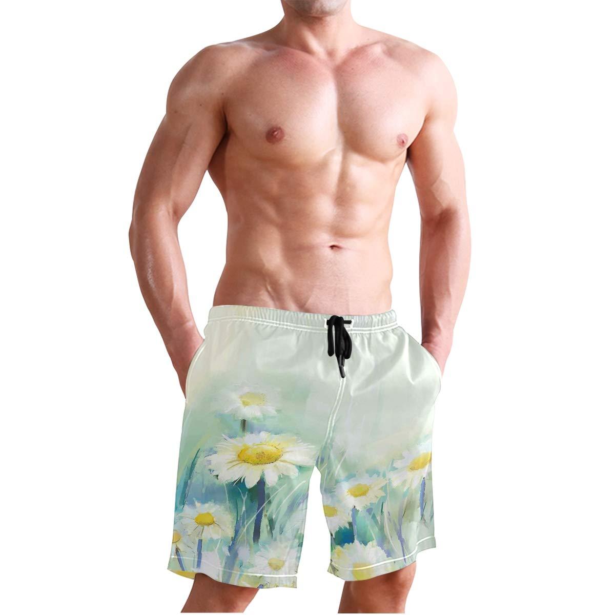 KVMV Cute White Stars Made Quick Dry Beach Shorts
