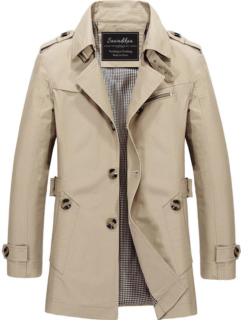 Sawadikaa Men's Single-Breasted Cotton Lightweight Jacket Windbreaker Wind Trench Coat Outdoor Jacket Light Khaki Medium