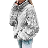 Juner Womens Off The Shoulder Sweater Casual Knitted Solid Long Sleeve Pullover Tops Sweatshirt
