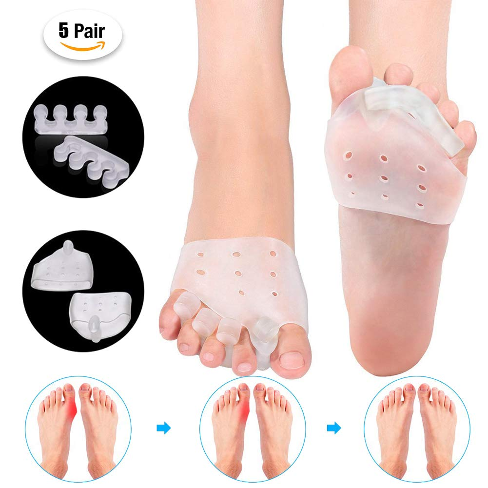 Big Toe Separator Bunion Corrector Toe Separator Gel Kit Orthopedic Protector for Hallux Valgus Hammer Toe Pain Relief Bunion Relief Sleeves,5PaisOneSize