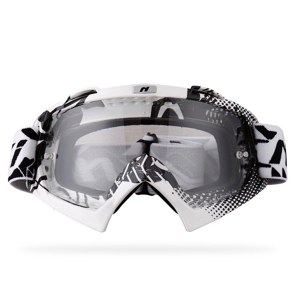 NENKI Motocross MX ATV Goggles NK-1019 For Off Road Dirt Bike Unisex Adult (White & Black,Clear Lens)