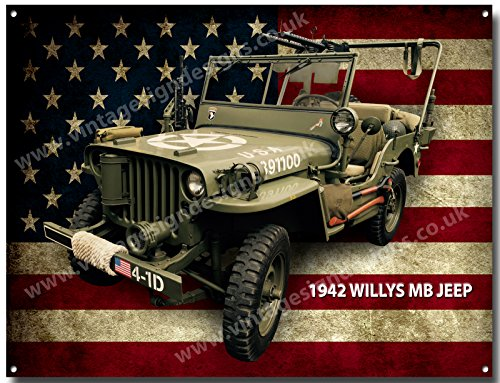 Vintage Sign Designs  1942 Willys Jeep quality metal sign -