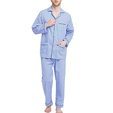 f0585607b89357 Global Mens Pyjamas Set, 100% Cotton Woven Drawstring Sleepwear Set with  Top and Pants