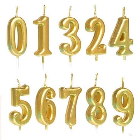 Amyzor Juego de 10 Velas con números para Tarta de ...