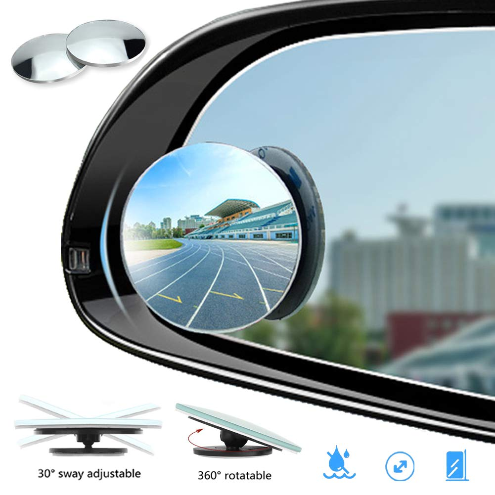 Alvaza IP65 Waterproof Round Blind Spot Mirror, Newest Ungrade 3' HD Glass 360 Wide Angle Adjustable Convex Real View Side Mirror for All Universal Vehicles Car SUV Trunk 2 Pack (2Pack)