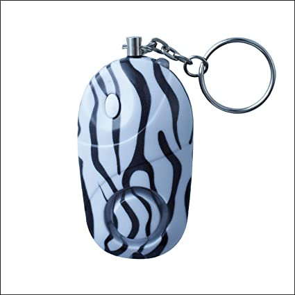 Jzing Personal Alarm Keychain Safety Emergency Alarm with LED Light 130DB Safety Siren for Women Girls Kids Elders-Zebra-Strip (Batteries Included)