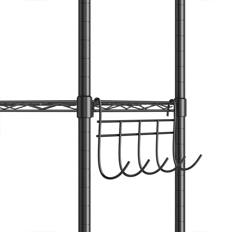 6 estantes de cocina con ganchos laterales de cromo 54 x 29 x 160 cm. Negro