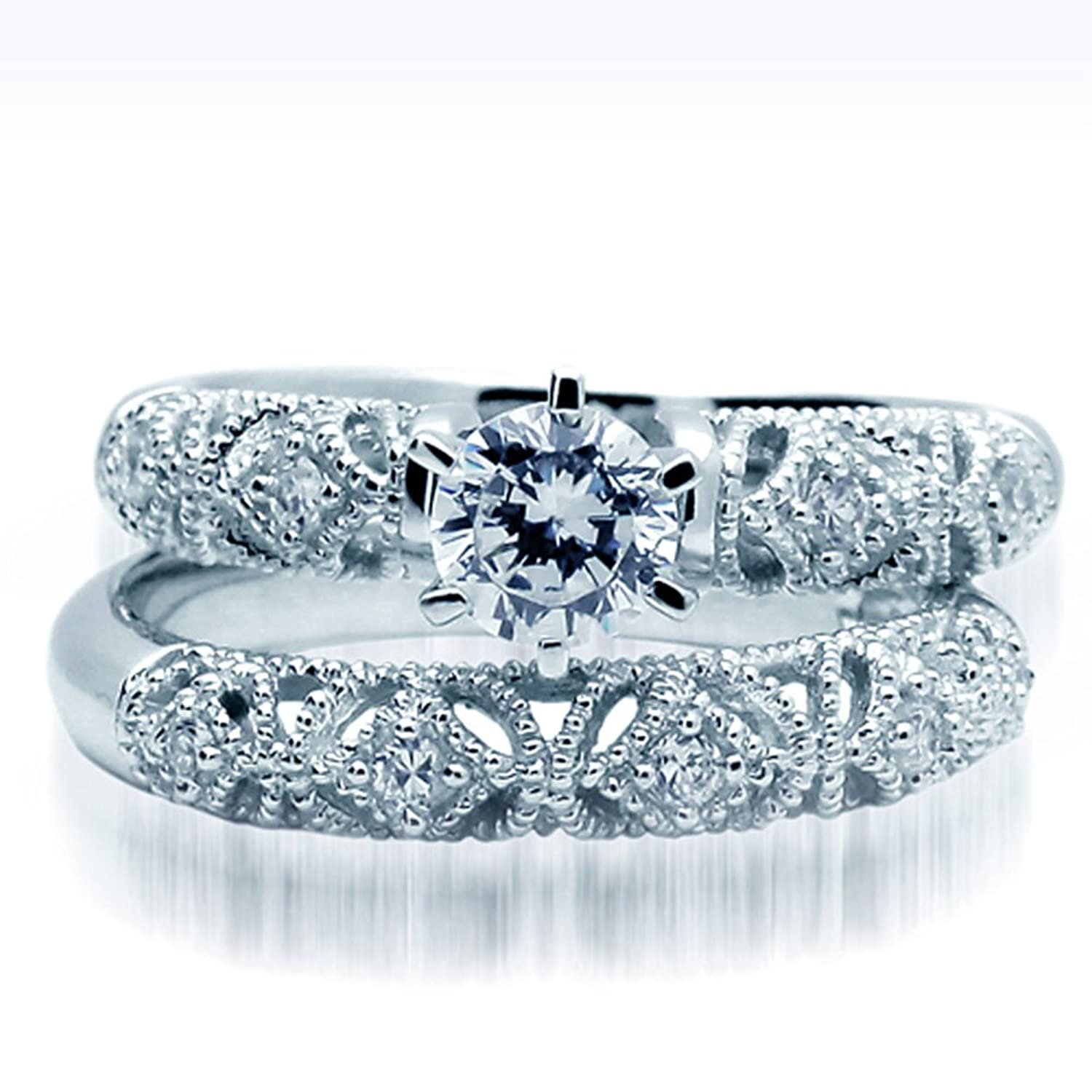 Amazon Sterling Silver Wedding Ring Set Round CZ Engagement