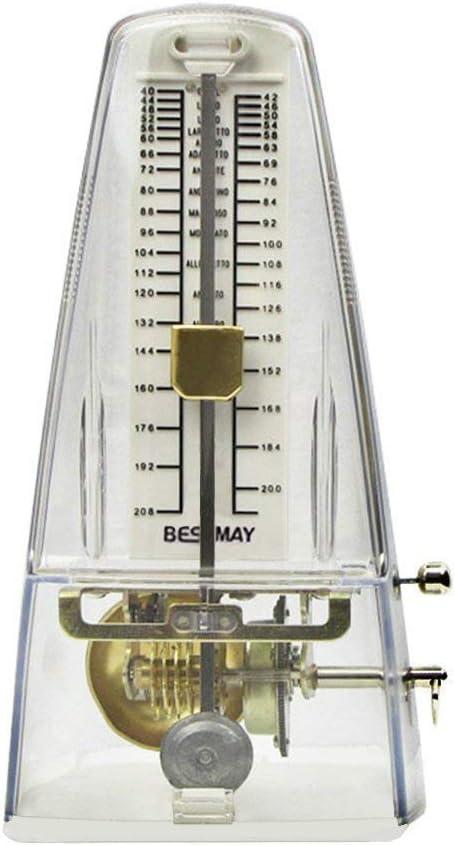 YIY Triángulo clásico tipo torre tempo música mecánica metrónomo para guitarra, teclados de piano, transparente transparente