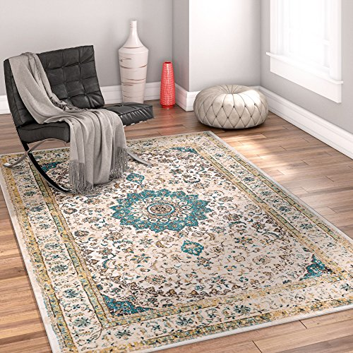 Djemila Medallion Beige Vintage Persian Floral Oriental 3 x 5 (3'11'' x 5'3'') Area Rug Neutral Modern Shabby Chic Thick Soft Plush Shed - Thick Chic