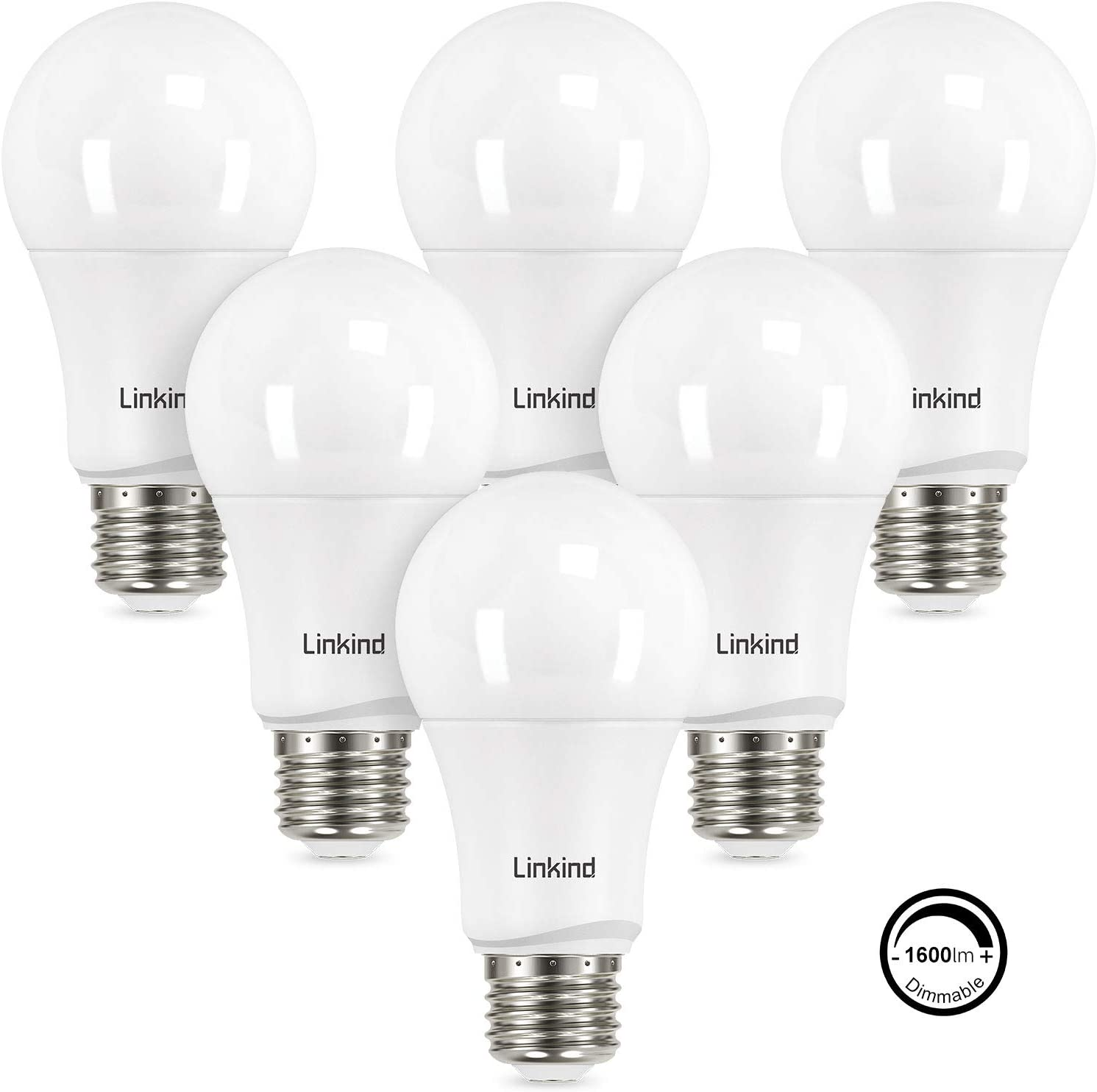 Linkind Dimmable A19 LED Light Bulbs, 100W Equivalent, E26 Base, 5000K Daylight, 15.5W 1600 Lumens 120V, UL Listed FCC Certified, Energy Star, Pack of 6