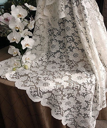 - AK-Trading 54-Inch Ivory Floral Lace Crochet Square Tablecloth Overlay Table Cover