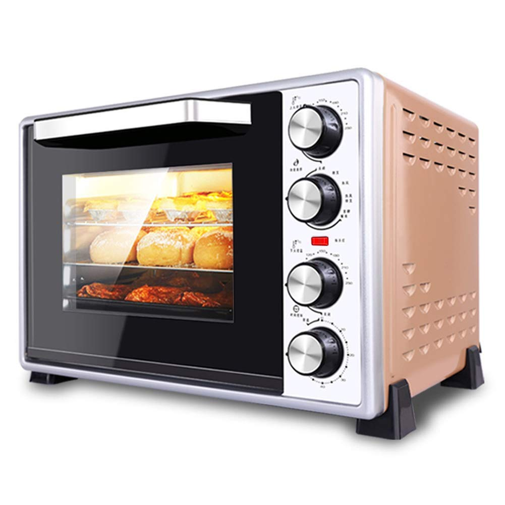 KOSGK Multi-Function Tabletop Oven Electric Including Baking Tray Rotating Fork Bracket Rotating Fork Slag Tray 40L Pink