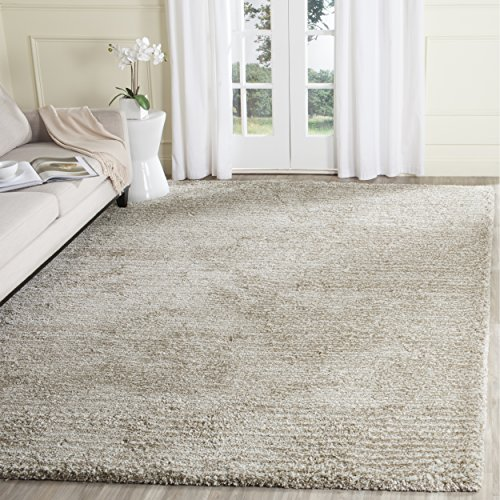 Handmade Polyester Rug - Safavieh Ultimate Shag Collection SGU211C Handmade Sand and Ivory Polyester Area Rug (8' x 10')
