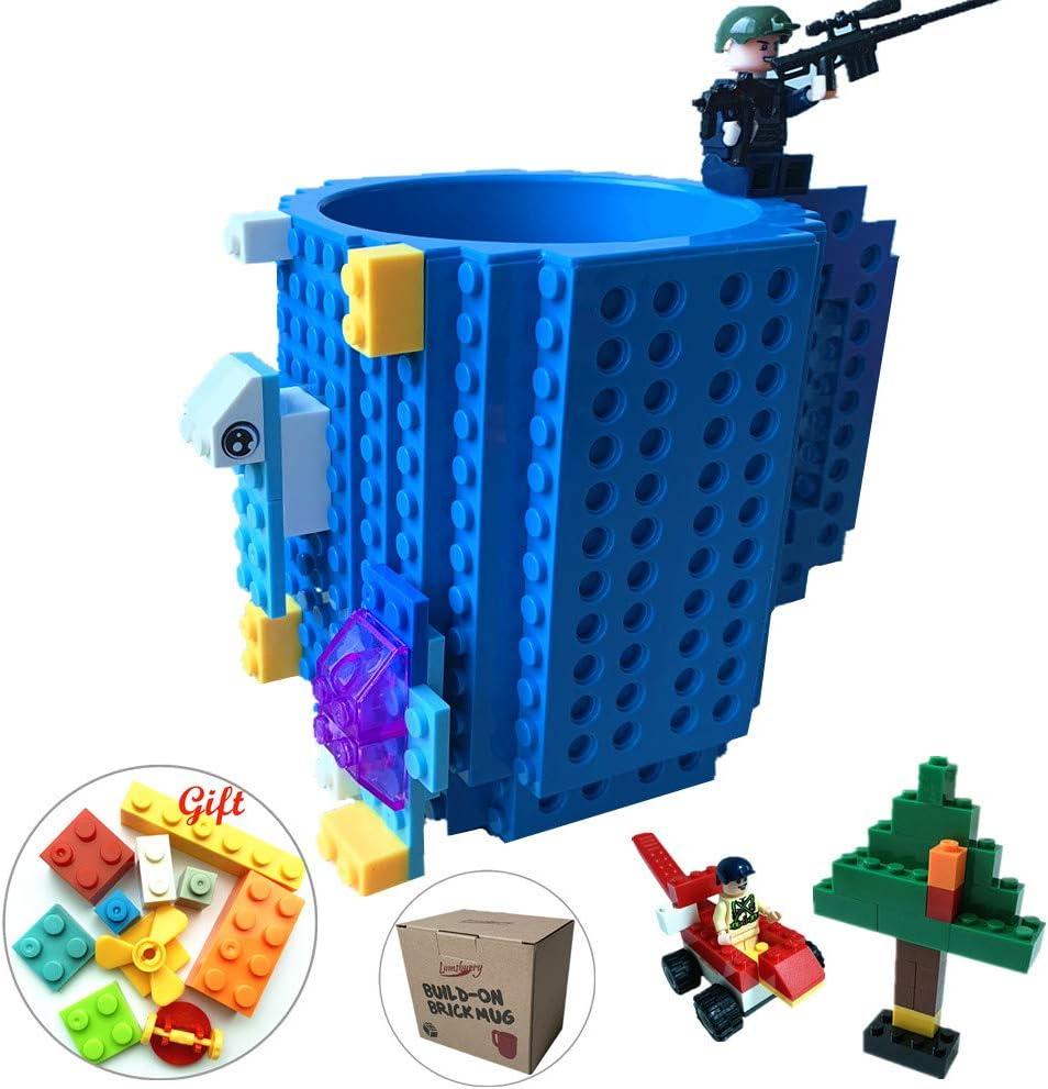 Build-on Brick Coffee Mug, Funny DIY Novelty Cup with Building Blocks Creative Gift for Kids Men Women Xmas Birthday (Blue)