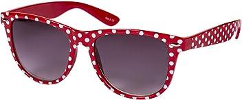 SIX Modische Sonnenbrille: Retrobrille im Rockabilly-Stil, Vintage-Accessoire passend zu jedem Outfit, Breite ca. 15 cm, rot mit weißen Punk (324-242)