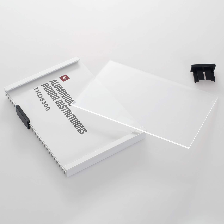 TKD8302-A5 Targa Fuoriporta Parete Fissaggio con Viti Info Sign Ufficio Porta Segno per Inserto 297mm x 210mm TUKA-i-AKUT Targa per Porta A5 Porta Scudo Alluminio e Acrilico