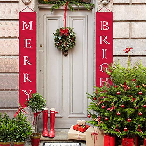 MORDUN Christmas Decorations Outdoor Indoor | Merry Bright Porch Sign | Red Xmas Decor Banners for Home Wall Door Apartment Party