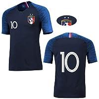 T-Shirt Garçon Football France 2 étoiles Maillot de Joueur Foot Champion Enfant