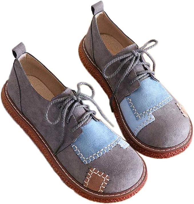 Feisette 2019 Spring Zapatos Planos para Mujer de Ante con ...
