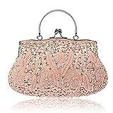 EROUGE Beaded Sequin Design Flower Evening Purse Large Clutch Bag (Pink)