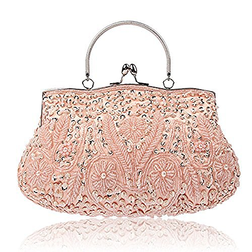 EROUGE Beaded Sequin Design Flower Evening Purse Large Clutch Bag (Pink)