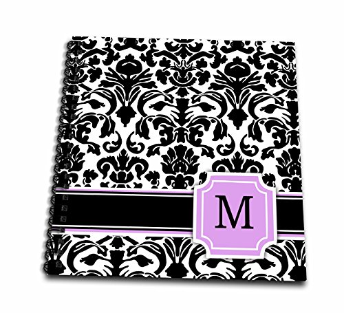 3dRose db_154388_2 Personal Initial M Monogrammed Pink Black and White Damask Pattern Girly Stylish Personalized Letter Memory Book, 12 by 12-Inch