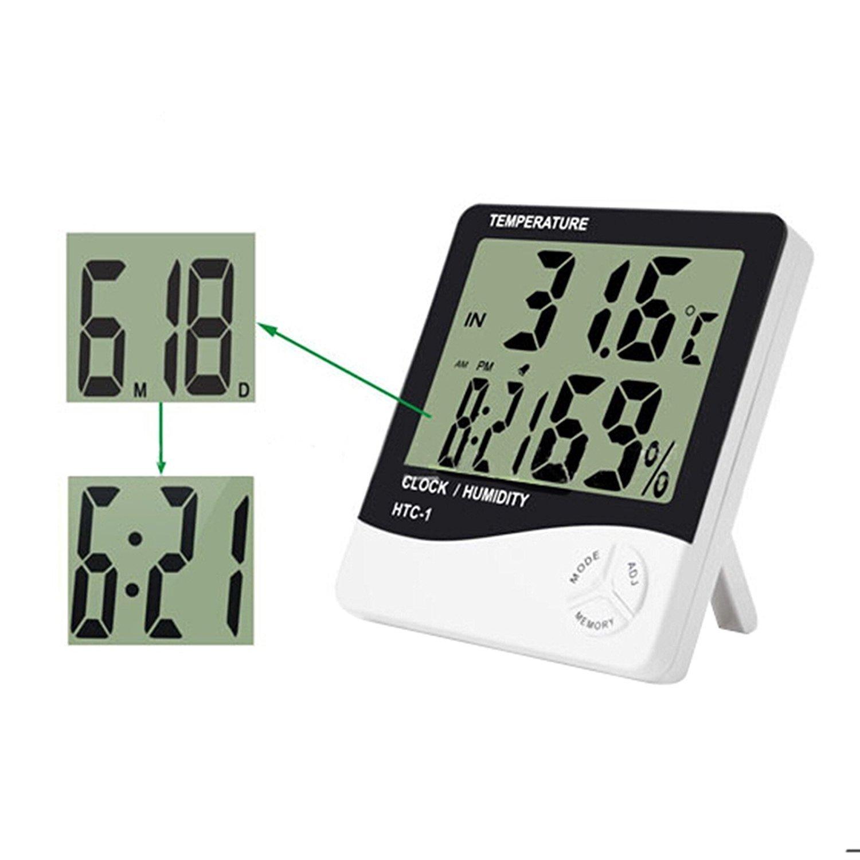 Misika - Pantalla digital LCD higrómetro, termómetro, medidor de la humedad ambiente, reloj despertador con soporte, Weiß: Amazon.es: Jardín