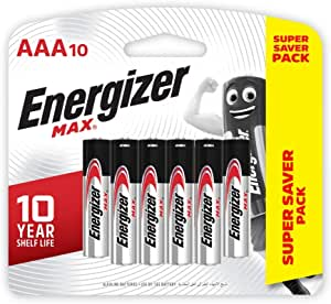 Energizer Max Alkaline E92 BP10 AAA (Packaging may vary), 10ct
