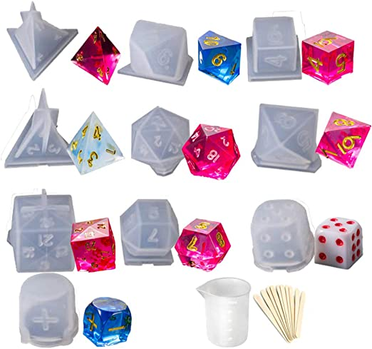 Flosky 7 Shapes Dice Fillet Square Triangle Dice Mold Dice Digital Game Silicone Mould