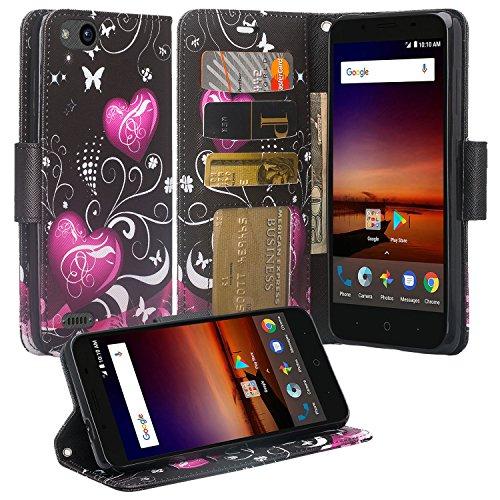 SOGA Cover Compatible for ZTE Blade Vantage Case, ZTE Tempo X N9137 Case [Pocketbook Series] PU Leather Magnetic Flip Wallet Case for ZTE Avid 4 / ZTE Tempo X N9137 - Black Heart
