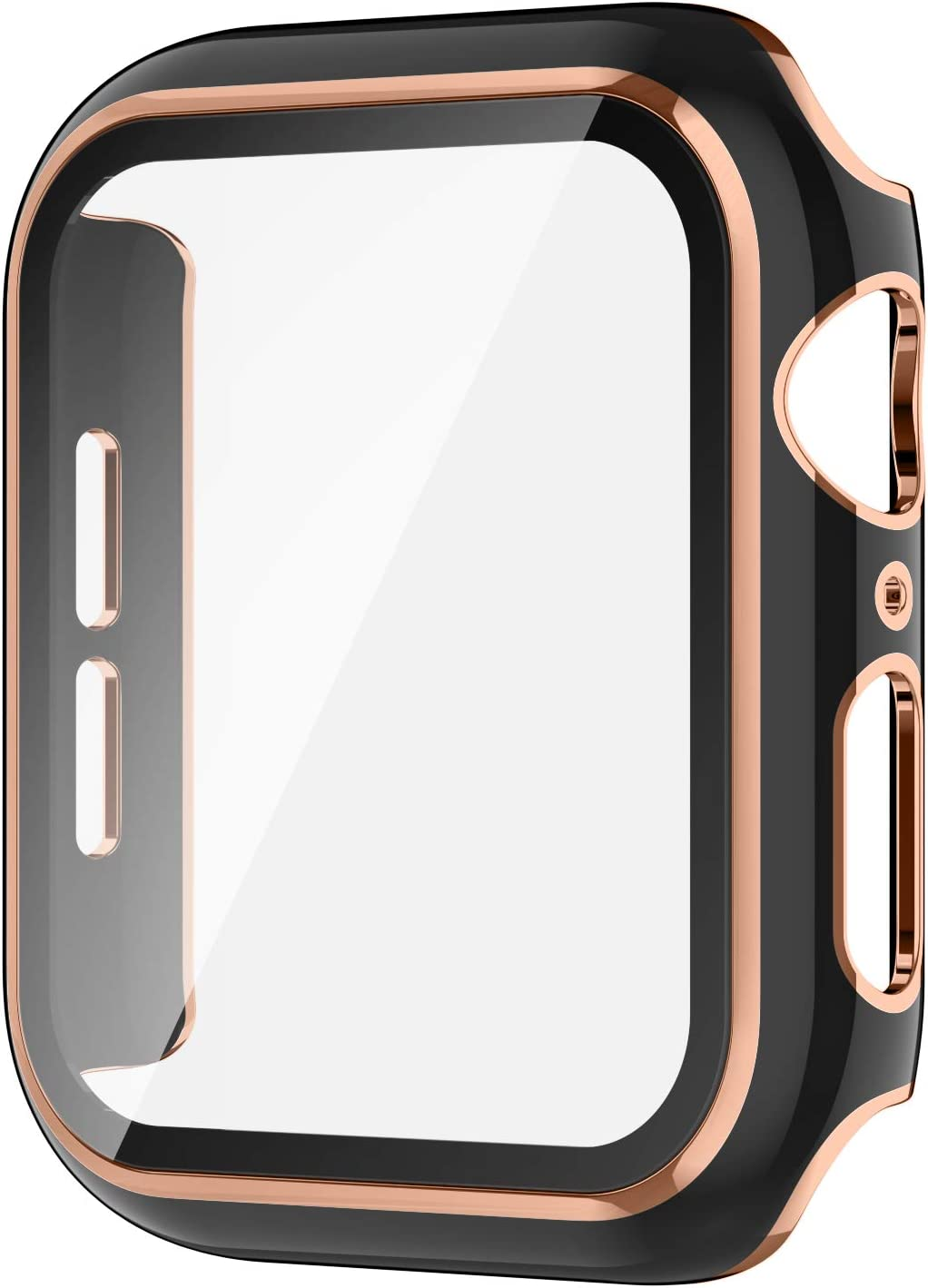 AVIDDA Case Compatible Apple Watch 38mm Built-in Tempered Glass Screen Protector, Rose Gold Edge Black Bumper Full Coverage HD Clear Protective Film Cover for Women Men iWatch 38mm Series 3/2/1