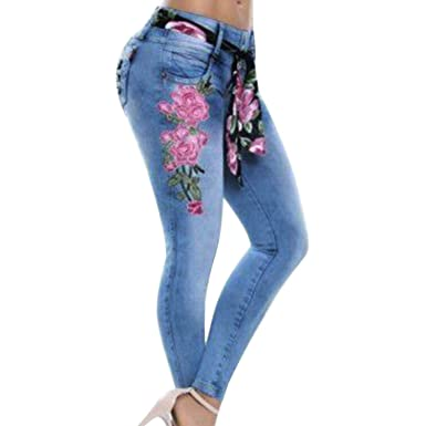 cf2c23322 DJOQ Fashion Women Stretch High Waist Skinny Embroidery Jeans Floral Print Denim  Pants Trousers Women Pencil