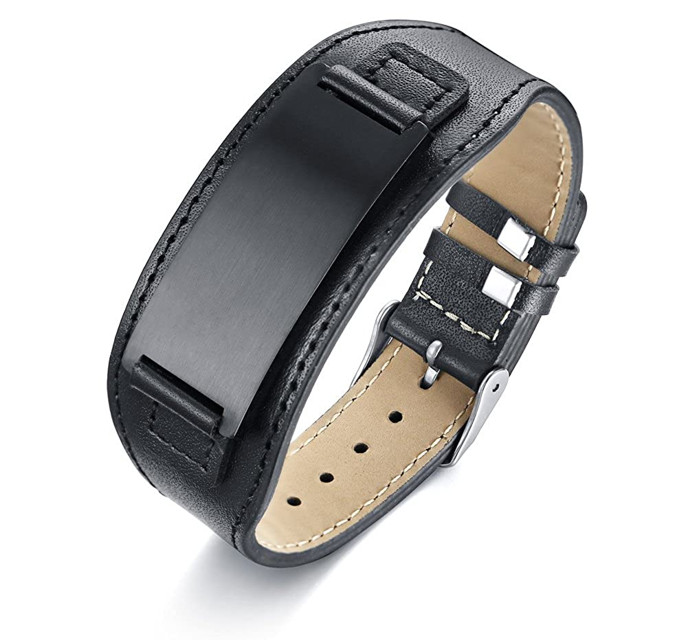VNOX Free Engraving-Metal Wide Genuine Leather Stainless Steel ID Tag Adjustable Band Bracelet for Men VNOX Jewelry BL-433S+KZ