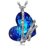 """Pauline & Morgen """"goccia di Venere"""" Collana donna-cristallo SWAROVSKI ELEMENTS blu-colore oro bianco, 43cm"""
