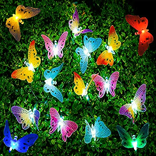 Madowl LED String Lights, 20Pcs Multi-Color LED Fiber Optic Butterfly Lights, 16ft Length, Solar-Powered Fairy Lights, Waterproof LED Strand Lights for Garden, Christmas,Outdoor Lighting Decorations (Light Butterfly)