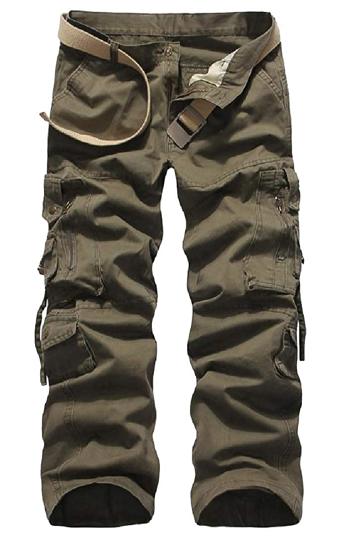 YUNY Mens Relaxed Mid Waist Rugged Cargo Trousers Army Green 37